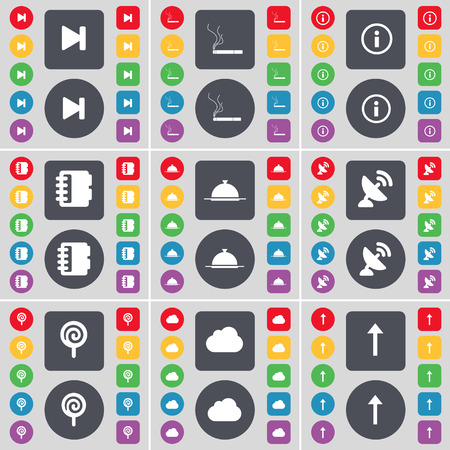 satellite dish: Media skip, Cigarette, Information, Notebook, Tray, Satellite dish, Lollipop, Cloud, Arrow up icon symbol. A large set of flat, colored buttons for your design. Vector illustration Illustration