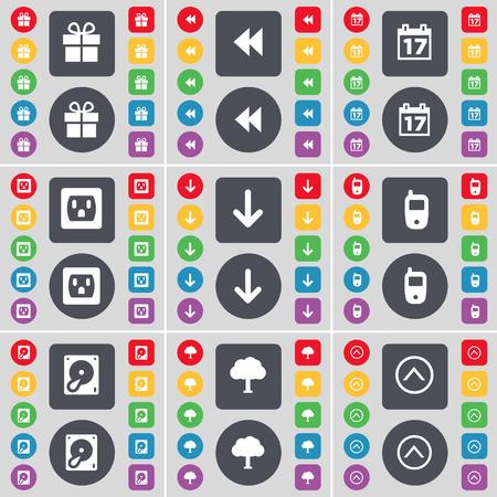 disco duro: Regalo, Rewind, Calendario, Socket, flecha abajo, para tel�fonos m�viles, Disco duro, �rbol, Flecha arriba icono de s�mbolo. Un gran conjunto de planos botones, colores para su dise�o. Ilustraci�n vectorial Vectores