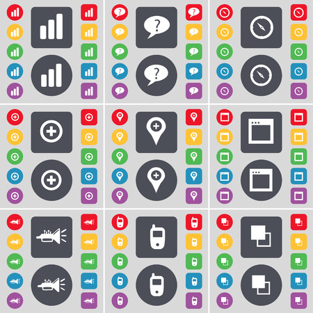 chat window: Diagram, Chat bubble, Compass, Plus, Checkpoint, Window, Trumped, Mobile phone, Copy icon symbol. A large set of flat, colored buttons for your design. Vector illustration Illustration