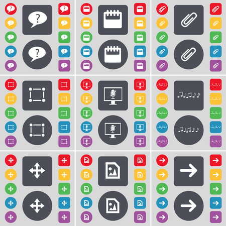 arrow right icon: Chat bubble, Calendar, Clip, Frame, Monitor, Note, Moving, Media file, Arrow right icon symbol. A large set of flat, colored buttons for your design. Vector illustration Illustration