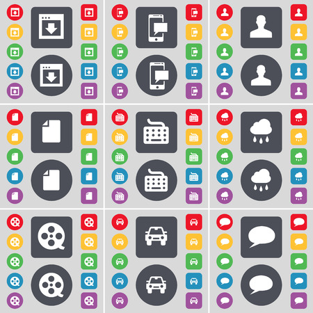 chat bubble icon: Window, SMS, Avatar, File, Keyboard, Cloud, Videotape, Car, Chat bubble icon symbol. A large set of flat, colored buttons for your design. Vector illustration Illustration