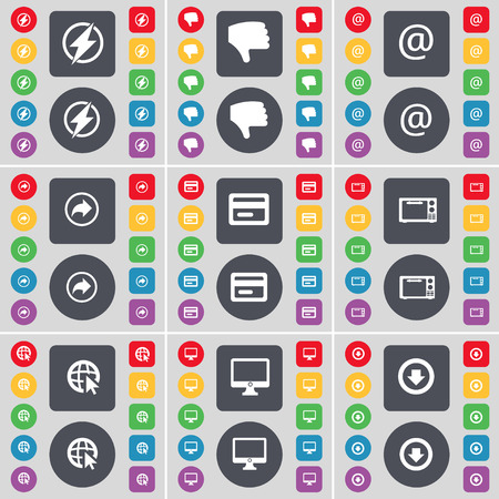 arrow down icon: Flash, Dislike, Mail, Back, Credit card, Microwave, Web cursor, Monitor, Arrow down icon symbol. A large set of flat, colored buttons for your design. Vector illustration