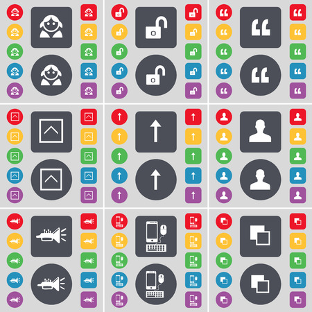 lock up: Avatar, Lock, Quotation mark, Arrow up, Silhouette, Trumped, Smartphone, Copy icon symbol. A large set of flat, colored buttons for your design. Vector illustration