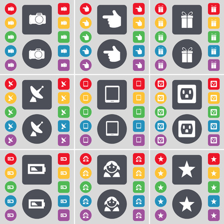 tablet pc in hand: Camera, Hand, Gift, Satellite dish, Tablet PC, Socket, Battery, Avatar, Star icon symbol. A large set of flat, colored buttons for your design. Vector illustration