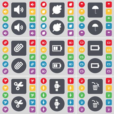 orologio da polso: Suono, Foglia, Ombrello, Clip, batterie, forbici, orologio, icona del cestino simbolo. Un grande insieme di piatti, pulsanti colorati per il vostro disegno. Illustrazione vettoriale