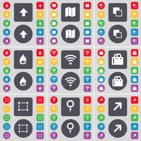 checkpoint: Arrow up, Map, Copy, Fire, Wi-Fi, Shopping bag, Frame, Checkpoint, Full screen icon symbol. A large set of flat, colored buttons for your design. Vector illustration