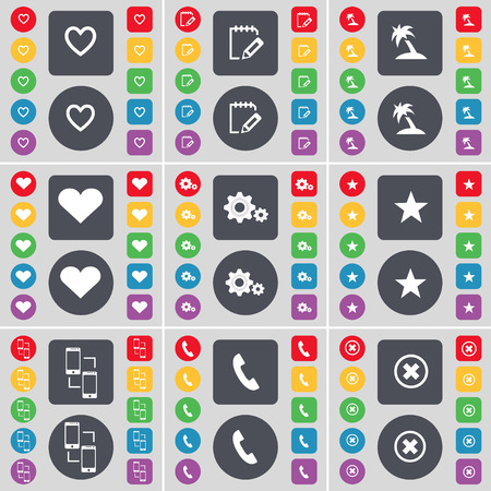 heart gear: Heart, Notebook, Palm, Heart, Gear, Star, Connection, Receiver, Stop icon symbol. A large set of flat, colored buttons for your design. Vector illustration