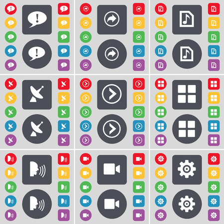 satellite dish: Chat bubble, Back, Music file, Satellite dish, Arrow right, Apps, Talk, Film camera, Gear icon symbol. A large set of flat, colored buttons for your design. Vector illustration Illustration