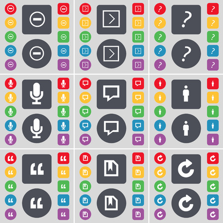 chat bubble vector: Minus, Arrow right, Question mark, Microphone, Chat bubble, Silhouette, Quotation mark, File, Reload icon symbol. A large set of flat, colored buttons for your design. Vector illustration