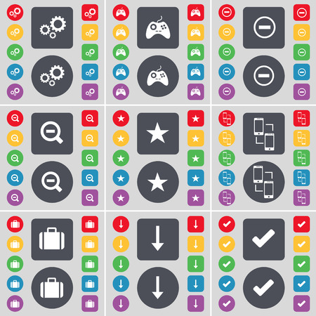 green technology: Gear, Gamepad, Minus, Magnifying glass, Star, Connection, Suitcase, Arrow down, Tick icon symbol. A large set of flat, colored buttons for your design. Vector illustration