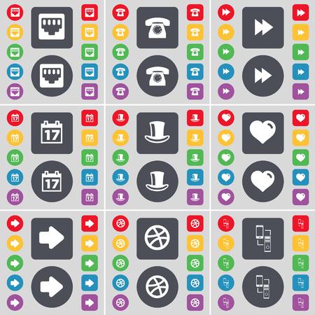 arrow right: Conexi�n LAN, tel�fono retro, Rewind, Calendario, sombrero de seda, coraz�n, flecha derecha, Pelota, Connetion icono de s�mbolo. Un gran conjunto de planos botones, colores para su dise�o. Ilustraci�n vectorial