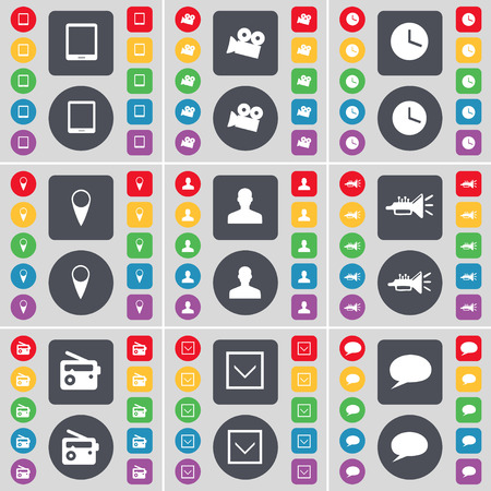 chat bubble icon: Tablet PC, Film camera, Clock, Checkpoint, Avatar, Trumped, Radio, Arrow down, Chat bubble icon symbol. A large set of flat, colored buttons for your design. Vector illustration