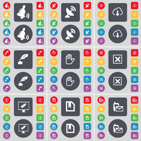ink pot: Bell, Satellite dish, Cloud, Ink pot, Hand, Stop, Monitor, File, Message icon symbol. A large set of flat, colored buttons for your design. Vector illustration Illustration