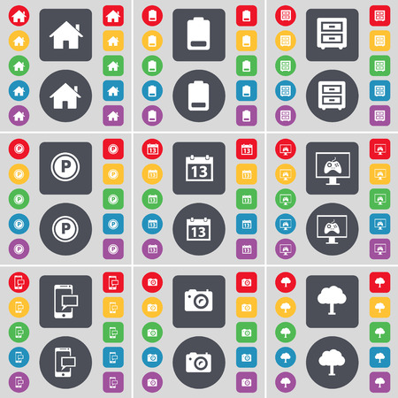 bedtable: House, Battery, Bed-table, Parking, Calendar, Monitor, SMS, Calendar, Tree icon symbol. A large set of flat, colored buttons for your design. Vector illustration
