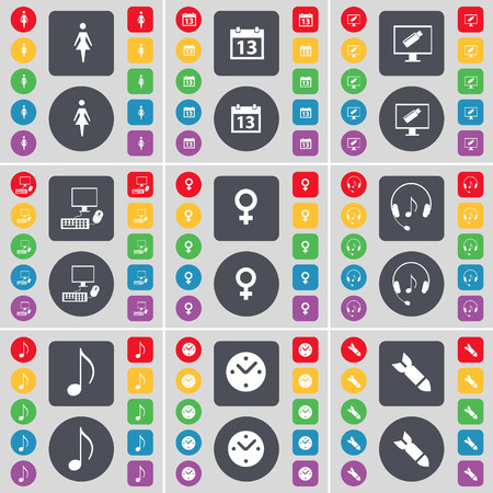 note pc: Silhouette, Calendar, Monitor, PC, Venus symbol, Headphones, Note, Clock, Rocket icon symbol. A large set of flat, colored buttons for your design. Vector illustration