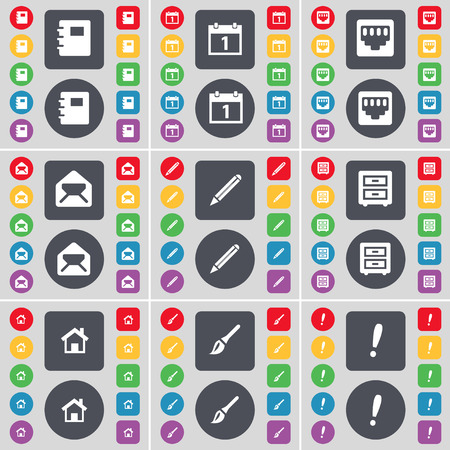 lan: Notebook, Calendar, LAN socket, Message, Pencil, Bed-pencil, House, Brush, Exclamation mark icon symbol. A large set of flat, colored buttons for your design. Vector illustration