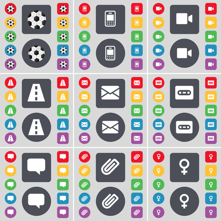 venus symbol: Ball, Mobile phone, Video camera, Road, Message, Cassette, Chat bubble, Clip, Venus symbol icon symbol. A large set of flat, colored buttons for your design. Vector illustration