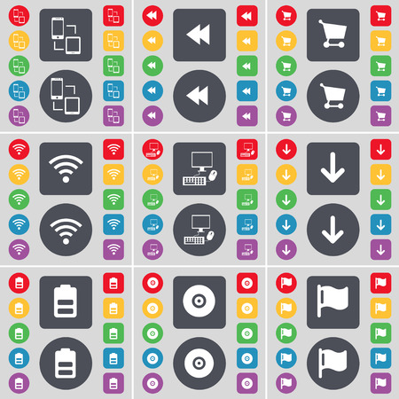 arrow down: Connection, Rewind, Shopping cart, Wi-Fi, PC, Arrow down, Battery, Disk, Flag icon symbol. A large set of flat, colored buttons for your design. Vector illustration
