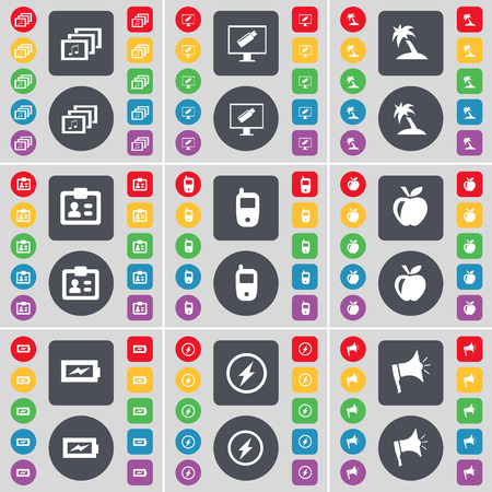 contact icon: Gallery, Monitor, Palm, Contact, Mobile phone, Apple, Charging, Flash, Megaphone icon symbol. A large set of flat, colored buttons for your design. Vector illustration