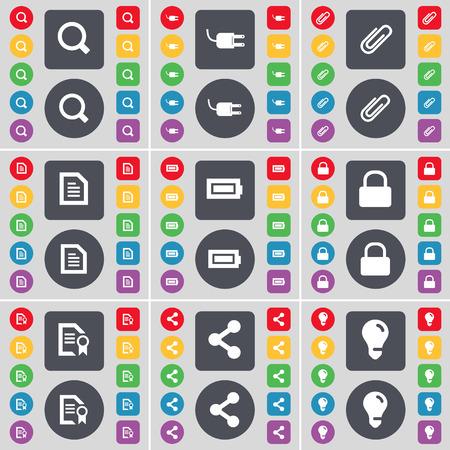 enchufe de luz: Lupa, Toma, videoclip, archivo de texto, la bater�a, bloqueo, Archivo, Compartir, Bombilla icono de s�mbolo. Un gran conjunto de planos botones, colores para su dise�o. Ilustraci�n vectorial