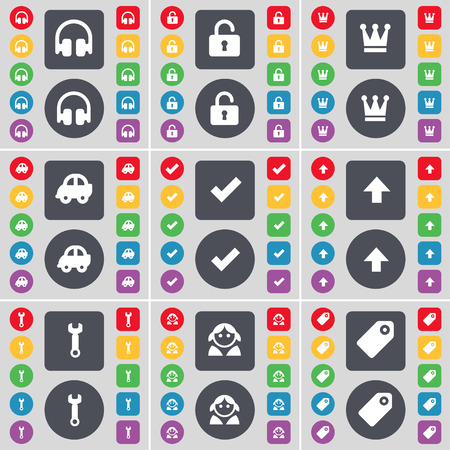 lock up: Headphones, Lock, Crown, Car, Tick, Arrow up, Wrench, Avatar, Tag icon symbol. A large set of flat, colored buttons for your design. Vector illustration