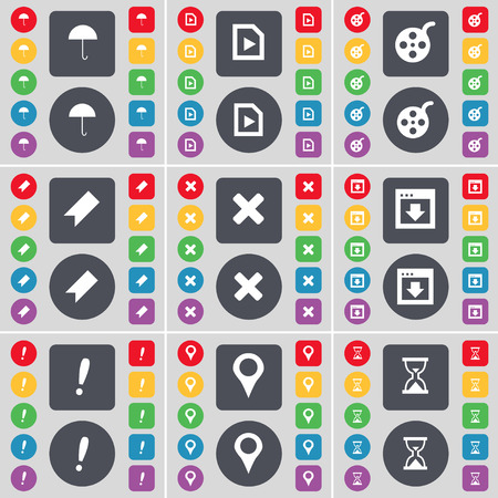 checkpoint: Umbrella, Media play, Videotape, Marker, Stop, Window, Exclamation mark, Checkpoint, Hourglass icon symbol. A large set of flat, colored buttons for your design. Vector illustration