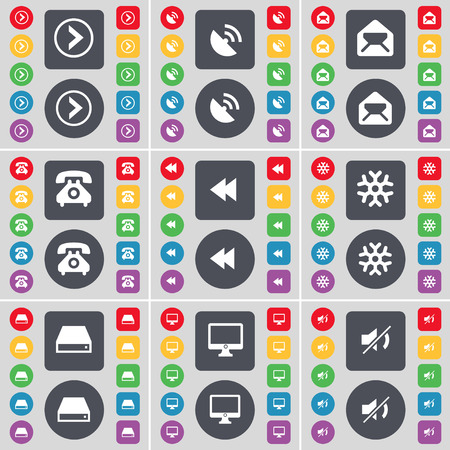 retro telefon: Arrow right, Satellite dish, Message, Retro phone, Rewind, Snowflake, Hard drive, Monitor, Mute icon symbol. A large set of flat, colored buttons for your design. Vector illustration