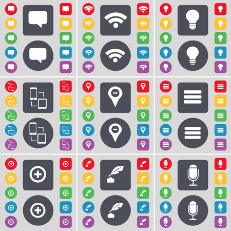 ink pot: Chat bubble, Wi-Fi, Light bulb, Connection, Checkpoint, Apps, Plus, Ink pot, Microphone icon symbol. A large set of flat, colored buttons for your design. Vector illustration