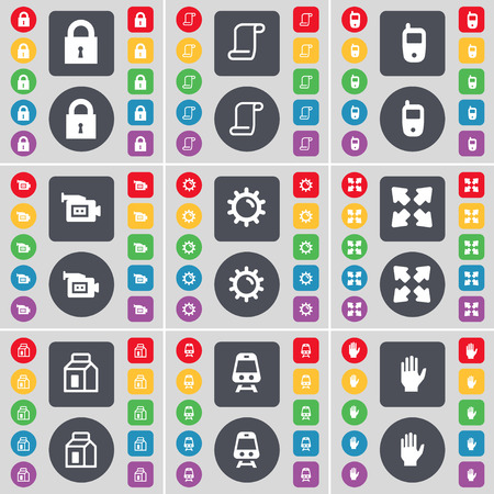full screen: Lock, Scroll, Mobile phone, Film camera, Gear, Full screen, Packing, Train, Hand icon symbol. A large set of flat, colored buttons for your design. Vector illustration Illustration