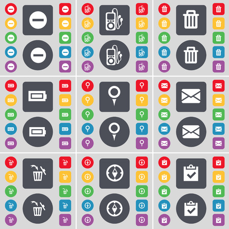 mp3 player: Minus, MP3 player, Trash can, Battery, Checkpoint, Message, Trash can, Compass, Survey icon symbol. A large set of flat, colored buttons for your design. Vector illustration