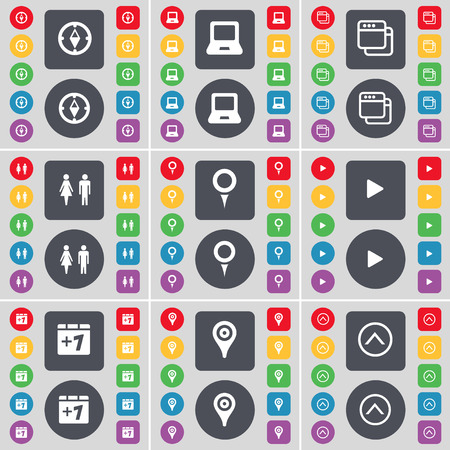 checkpoint: Compass, Laptop, Window, Silhouette, Checkpoint, Media play, Plus one, Checkpoint, Arrow up icon symbol. A large set of flat, colored buttons for your design. Vector illustration Illustration