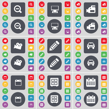 bedtable: Magnifying glass, Monitor, Film camera, Pencil, Car, Calendar, Bed-table icon symbol. A large set of flat, colored buttons for your design. Vector illustration