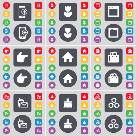 house shopping: Smartphone, Flower, Window, Hand, House, Shopping bag, SMS, Brush, Gear icon symbol. A large set of flat, colored buttons for your design. Vector illustration