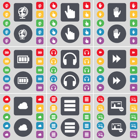 globe hand: Globe, Hand, Battery, Headphones, Rewind, Cloud, Apps, Picture icon symbol. A large set of flat, colored buttons for your design. Vector illustration