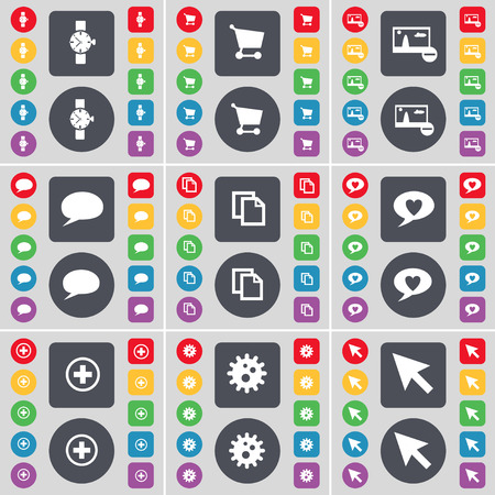 heart gear: Wrist watch, Shopping cart, Picture, Chat bubble, File, Heart, Plus, Gear, Cursor icon symbol. A large set of flat, colored buttons for your design. Vector illustration Illustration