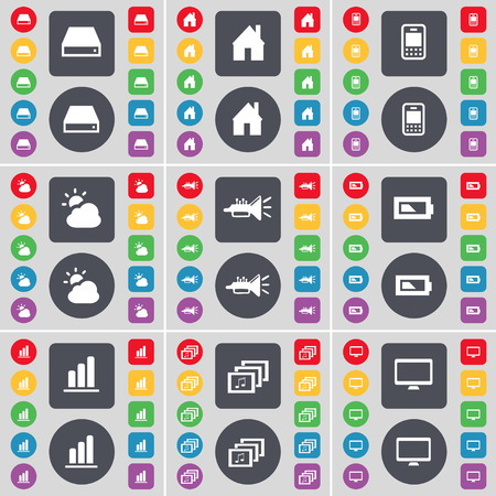 hard drive: Hard drive, House, Mobile phone, Cloud, Trumped, Battery, Diagram, Gallery, Monitor icon symbol. A large set of flat, colored buttons for your design. Vector illustration Illustration