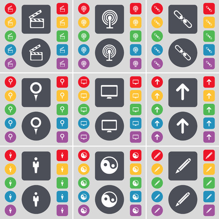 link up: Clapper, Wi-Fi, Link, Checkpoint, Monitor, Arrow up, Silhouette, Yin-Yang, Pencil icon symbol. A large set of flat, colored buttons for your design. Vector illustration