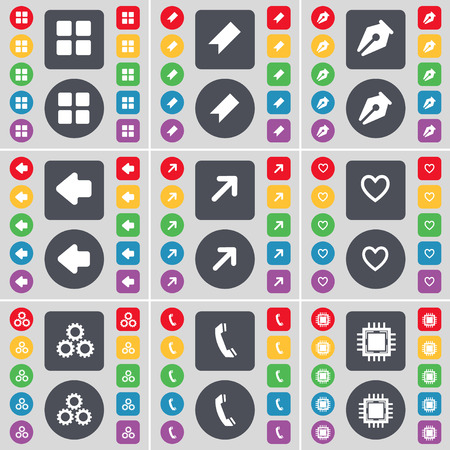 full screen: Apps, Marker, Ink pen, Arrow left, Full screen, Heart, Gear, Receiver, Processor icon symbol. A large set of flat, colored buttons for your design. Vector illustration