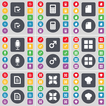 flat screen: Survey, Calculator, File, Microphone, Mars symbol, Apps, Text file, Deploying screen, Cooking screen icon symbol. A large set of flat, colored buttons for your design. Vector illustration