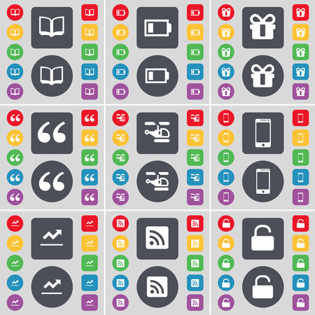 book mark: Book, Battery, Gift, Quotation mark, Helocopter, Smartphone, Graph, RSS, Lock icon symbol. A large set of flat, colored buttons for your design. Vector illustration