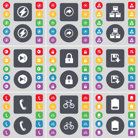 bicycling: Flash, Back, Network, Media skip, Lock, Floppy, Receiver, Bicycling, Battery icon symbol. A large set of flat, colored buttons for your design. Vector illustration