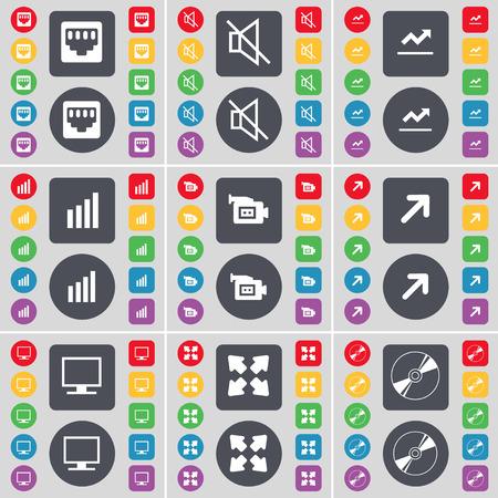 red lan: Conexi�n LAN, Mute, Gr�fico, Diagrama, c�mara de cine, a pantalla completa, monitor, icono de Disco s�mbolo. Un gran conjunto de planos botones, colores para su dise�o. Ilustraci�n vectorial Vectores