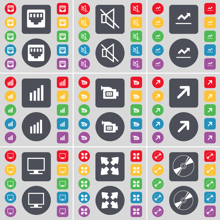 lan: LAN socket, Mute, Graph, Diagram, Film camera, Full screen, Monitor, Disk icon symbol. A large set of flat, colored buttons for your design. Vector illustration