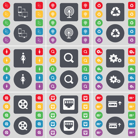lan: File exchange, Wi-Fi, Recycling, Silhouette, Magnifying glass, Gears, Videotape, LAN socket, Cassette icon symbol. A large set of flat, colored buttons for your design. Vector illustration