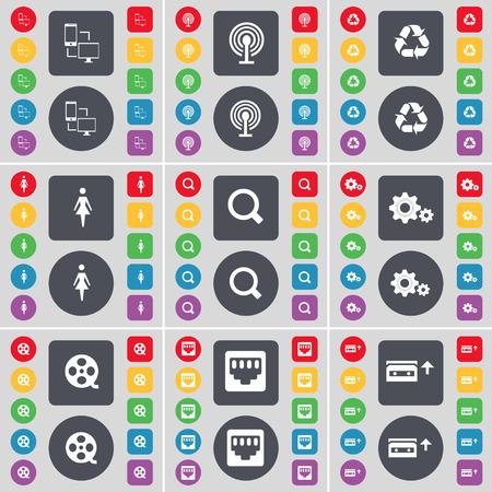 red lan: Intercambio de archivos, conexi�n Wi-Fi gratuita, Reciclaje, Silueta, Lupa, Engranajes, cintas de v�deo, conexi�n LAN, Casete icono de s�mbolo. Un gran conjunto de planos botones, colores para su dise�o. Ilustraci�n vectorial