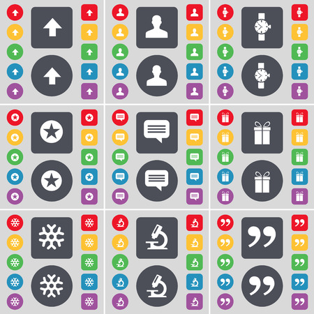 chat up: Arrow up, Silhouette, Wrist watch, Star, Chat bubble, Gift, Snowflake, Microscope, Quotation mark icon symbol. A large set of flat, colored buttons for your design. Vector illustration Illustration