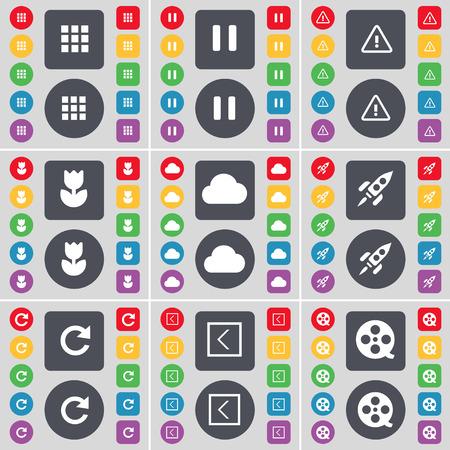 videotape: Apps, Pause, Warning, Flower, Cloud, Rocket, Reload, Arrow left, Videotape icon symbol. A large set of flat, colored buttons for your design. Vector illustration Illustration