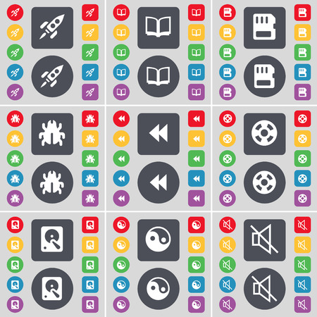 videotape: Rocket, Book, SIM card, Bug, Rewind, Videotape, Hard drive, Yin-Yang, Mute icon symbol. A large set of flat, colored buttons for your design. Vector illustration