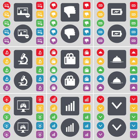 arrow down icon: Picture, Dislike, Charging, Microscope, Shopping bag, Tray, Monitor, Diagram, Arrow down icon symbol. A large set of flat, colored buttons for your design. Vector illustration Illustration