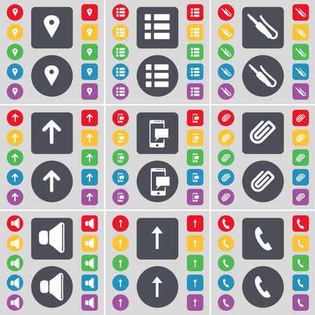 arrow up: Checkpoint, List, Microphone connector, Arrow up, SMS, Clip, Sound, Arrow up, Receiver icon symbol. A large set of flat, colored buttons for your design. Vector illustration Illustration